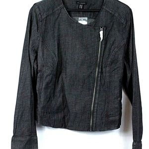 H by Halston Stretch Chambray Motorcycle Jacket